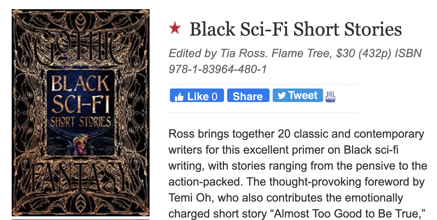 "Publishers Weekly Gives ""My"" Black SciFi Short Stories Anthology Starred Review"